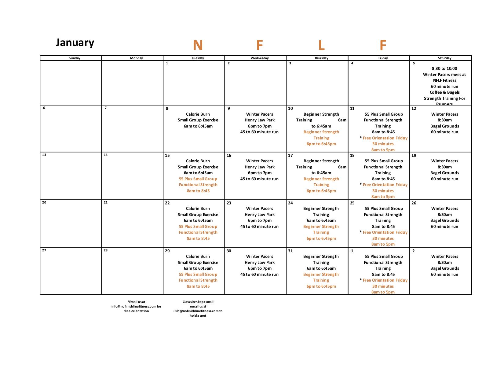 January 2019 Class Schedule
